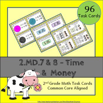2.MD.7 & 2.MD.8 Task Cards: Time & Money (Second-Grade Com