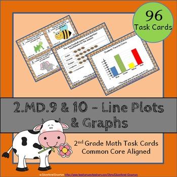 2.MD.9 & 2.MD.10 Task Cards: Line Plots & Graphs (Second-G