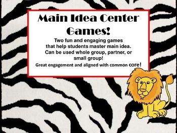 Main Idea Common Core Reading Literacy Center Games!  Anim