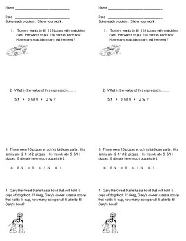 2 Math EOG reviews 5th grade and 2 quizzes