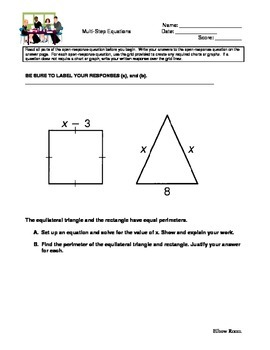 2 Multi-Step Equations Open Response problems