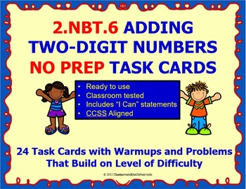 2.NBT.6 Math 2nd Grade NO PREP Task Cards—Adding 2-Digit N