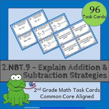 2.NBT.9 Task Cards: Explain Addition and Subtraction Strat