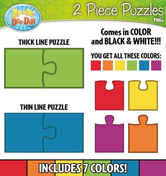 2 Piece Puzzles Clipart — Includes Transparent Pieces!