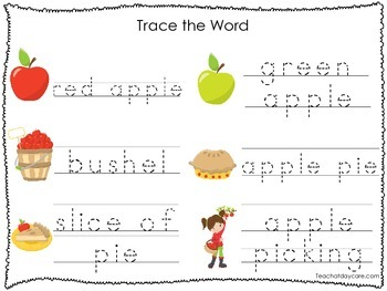 2 Printable Apple themed Word Tracing Activites. Preschool