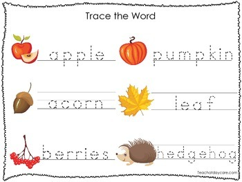 2 Printable Fall themed Word Tracing Activites. Preschool