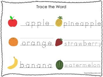 2 Printable Fruit and Veggie themed Word Tracing Activites
