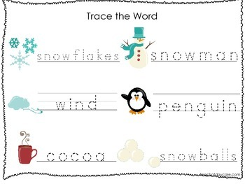2 Printable Winter themed Word Tracing Activites. Handwriting.