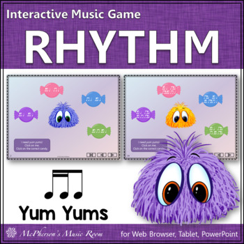 2 Sixteenths & 1 Eighth Note Yum Yums - Interactive Rhythm Game