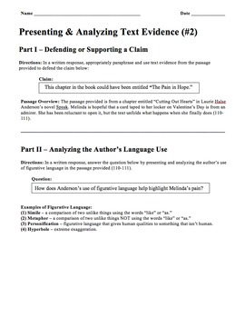 Speak - Cutting Out Hearts - Text-Based Writing and Litera
