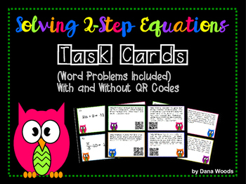 2 Step Equation Task Cards with Optional QR Codes (Word Pr