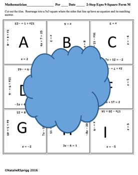 2 Step Equations 9 Square Puzzle