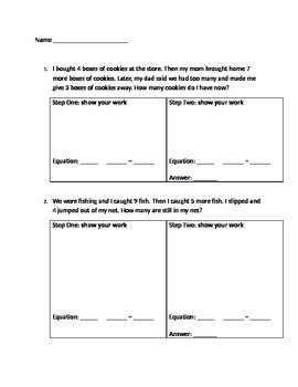 2 Step Word Problems- Guided Practice with space for equations