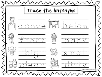 2 Trace the Antonyms Worksheets. Preschool-KDG Handwriting.