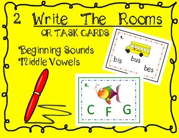 2 Write the Rooms or Task Cards (Beginning Sounds and Midd