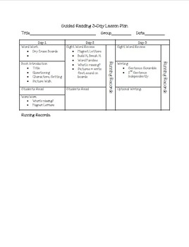 2 and 3 Day Guided Reading Lesson Plan Template