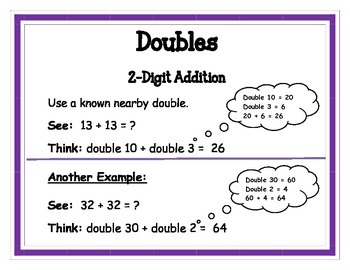 Addition Math Strategy Posters - 2 and 3 digit