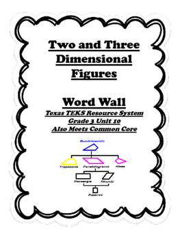 2 and 3 Dimensional Shape Word Wall for TEXAS TEKS, Grade