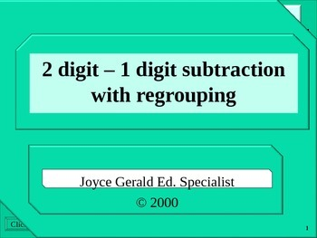 2 digit – 1 digit subtraction with regrouping