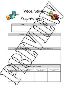 2 digit 3 digit 4 digit place value superheroes make name record