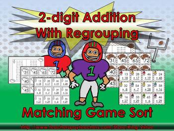2-digit Addition With Regrouping Matching Game Sort - Foot
