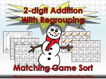 2-digit Addition With Regrouping Matching Game Sort - Wint