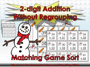 2-digit Addition Without Regrouping Matching Game Sort - W