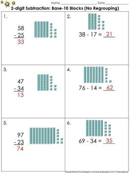 2-digit Subtraction: Use Base-10 Blocks (No Regrouping) Pr