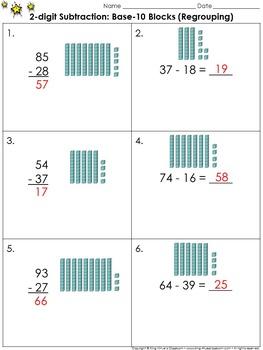 2-digit Subtraction: Use Base-10 Blocks (Regrouping) Pract