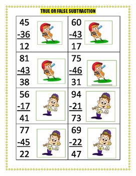 2 digit Subtraction task cards  Work station activity