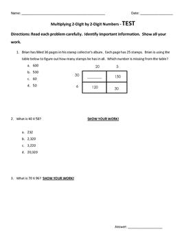 2 digit by 2 digit Multiplication Test