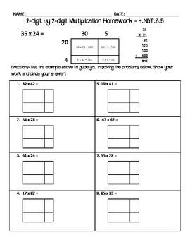 2-digit by 2-digit multiplication homework - area model