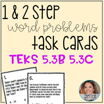 2 digit divisors and Multiplication Word Problem Task Card
