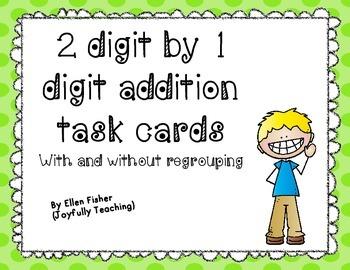 2 digit plus 1 digit task cards