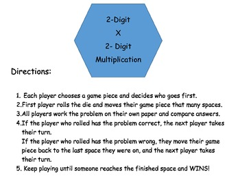 2 digit x 2 digit multiplication game for math workstations