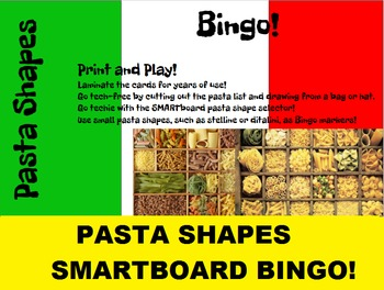 2 in 1: Pasta Shapes Bingo and SMARTboard Food Selector or