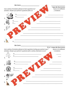 2 lesson pack! Invitations and Responses in Spanish
