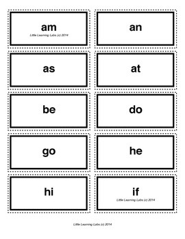 2-letter vocabulary spelling sight words cards for prek pr