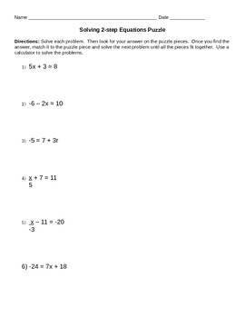 2-step Equations Puzzle Activity/Station