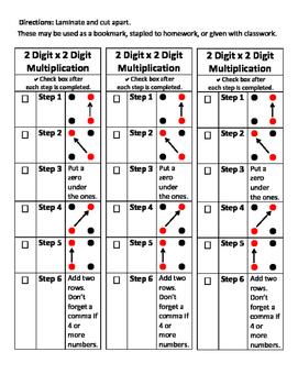 2 x 2 Digit Multiplication Bookmark Visual Aid Multiply St