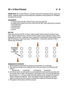 20 + 6 Dice Fitness PE activity