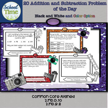 20 Addition and Subtraction Problems of the Day - Color an