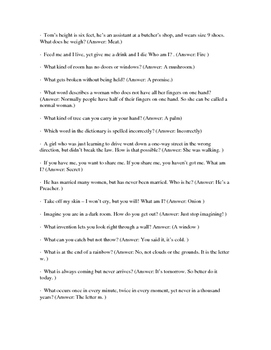 20 Brain Teasers (Middle & High School) with Answer Key