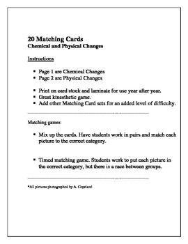 20 Chemical and Physical Changes Matching Cards Activity