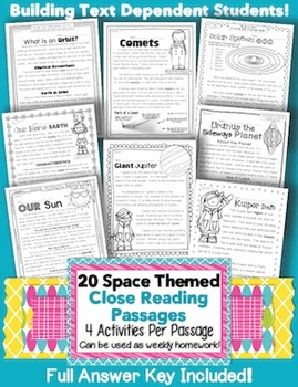 20 Common Core Space Themed Passages for Close Reading or