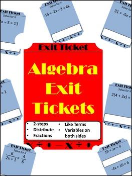 Algebraic Equations - Exit Tickets