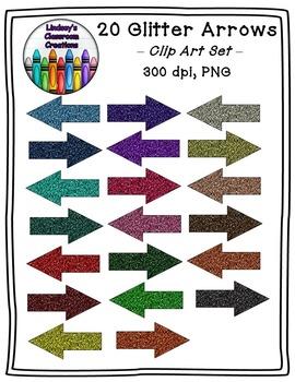 20 Glitter Arrows - Clip Art Set - FREEBIE!!!  Personal an