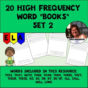 """20 High Frequency Word """"Books"""" - Set 2"""