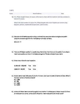 20 Higher Thinking Multiplication Word Problems 5.NBT.5 As