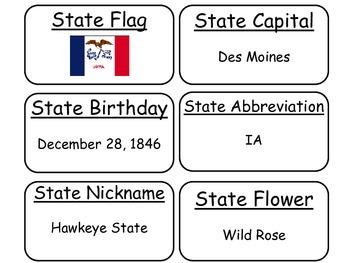 20 Iowa State Fact Flashcards. 1st Grade-7th Grade